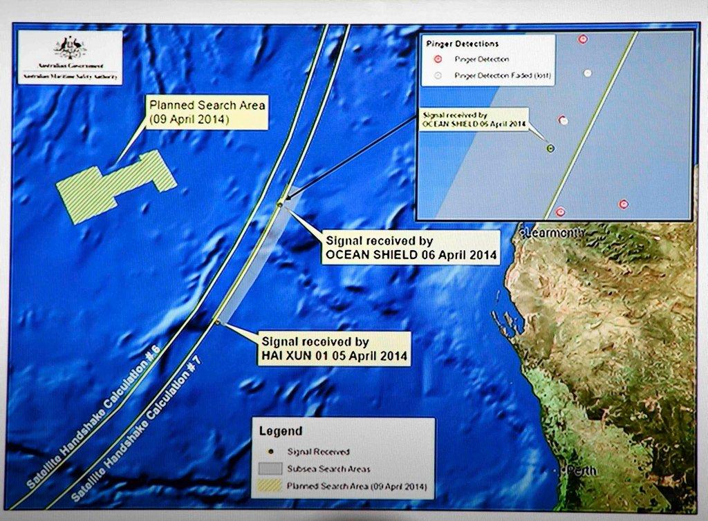 Obecny obszar poszukiwań zaginionego boeinga Malaysian Airlines