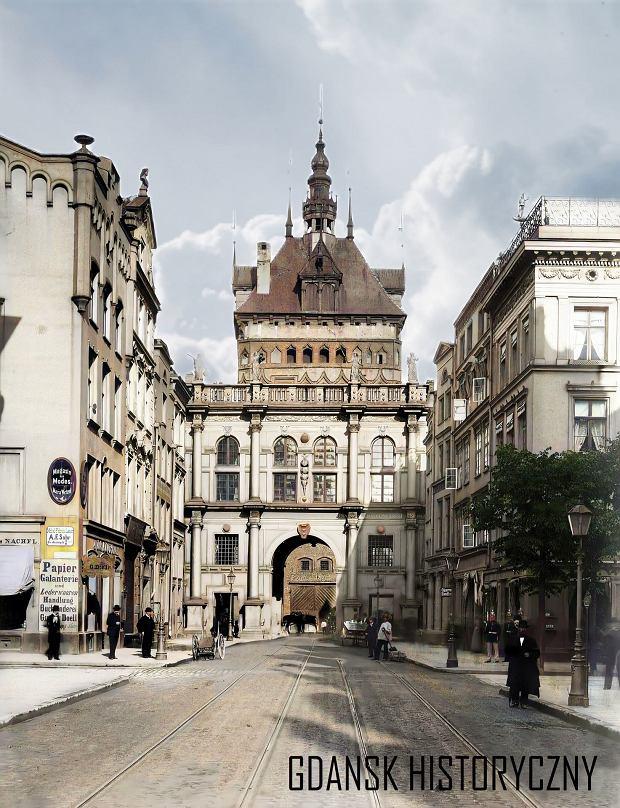 Zdjęcie numer 9 w galerii - Zdjęcia przedwojennego i powojennego Gdańska w kolorze. Zieleń drzew i czerwone cegły Bazyliki Mariackiej