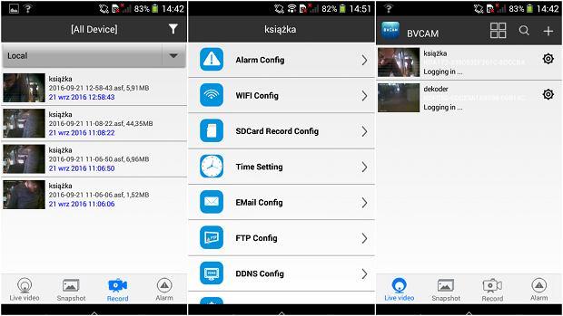 Aplikacja BVCAM na smartfonie z Androidem