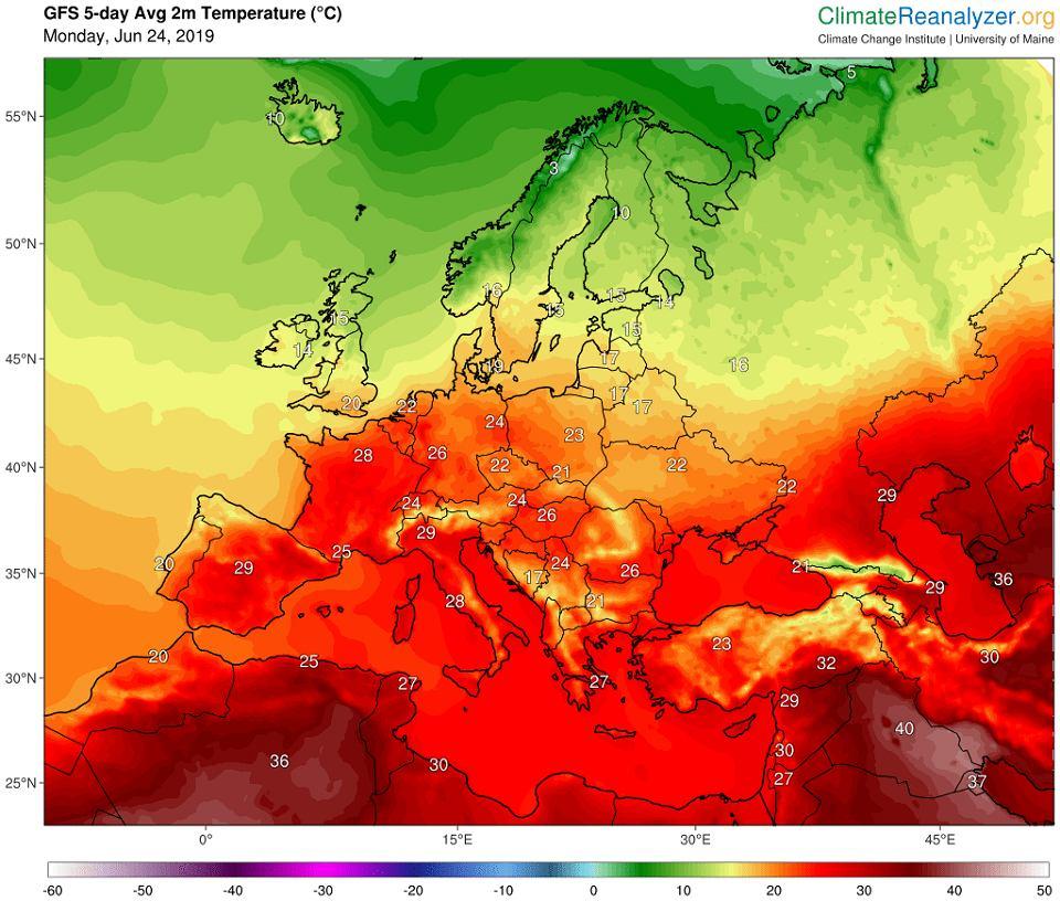 Prognoza średnich dobowych temperatur w najbliższych pięciu dniach. Uwaga - te maksymalne będą znacznie wyższe