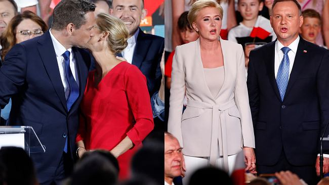 Trzaskowska w czerwieni, Duda podkreśliła talię. Tak wyglądały żony kandydatów na prezydenta podczas wieczoru wyborczego
