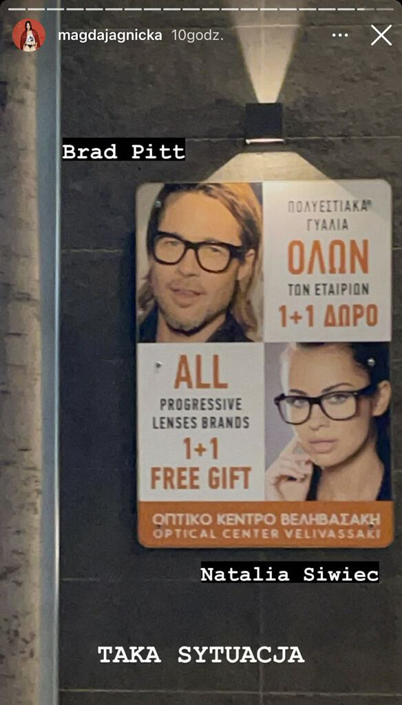 Natalia Siwiec i Brad Pitt w kampanii reklamowej okularów korekcyjnych