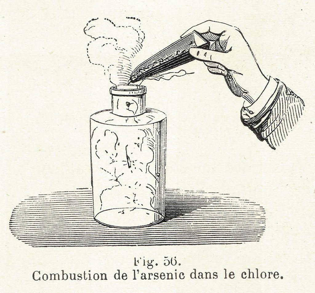 Związki arsenu badano i stosowano w leczeniu wszelakich dolegliwości już od czasów starożytnych. Na ilustracji: Spalanie arsenu w chlorze)
