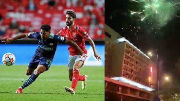 Benfica - PSV, rewanż w el. Ligi Mistrzów. Fajerwerki noc przed meczem. Źródło: AP i Twitter