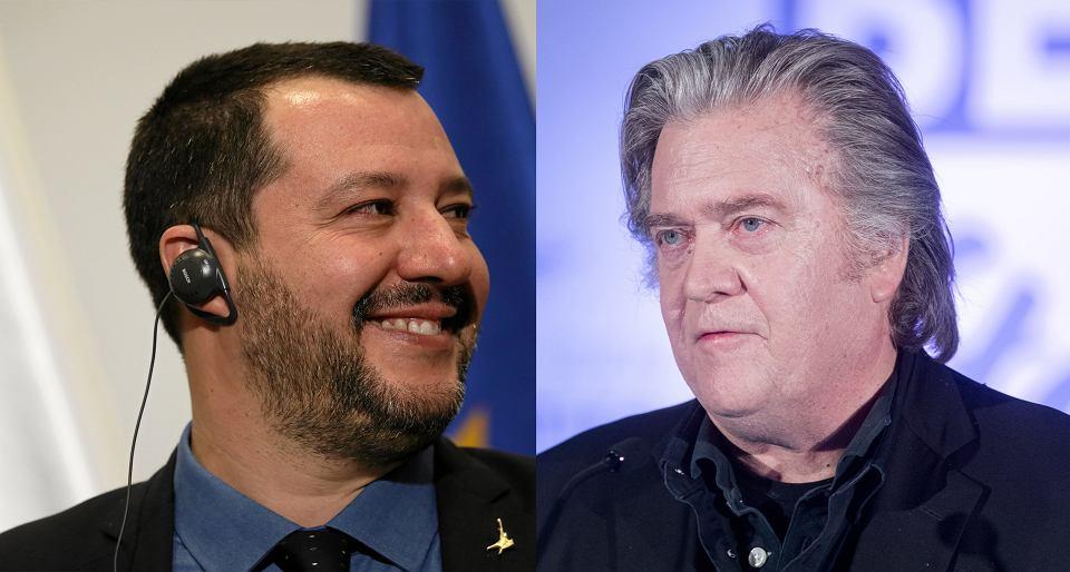 Wicepremier i minister spraw wewnętrznych Włoch Matteo Salvini i Steve Bannon