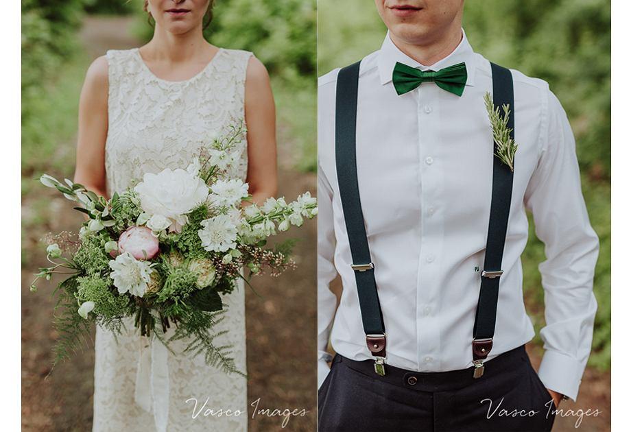 Suknia ślubna w stylu boho i strój pana młodego