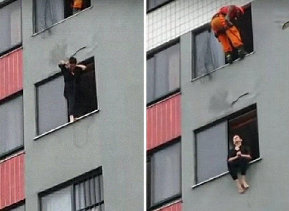 Brazylijski strażak ratuje samobójczynię