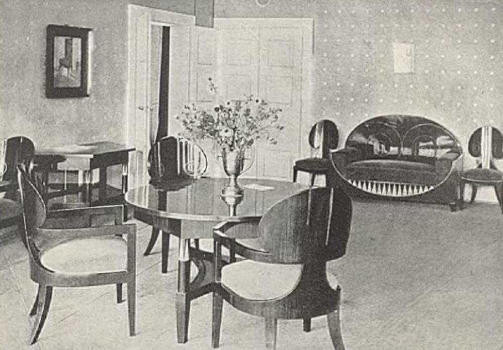 Komplet mebli salonowych, które zaprojektował Karol Tichy.