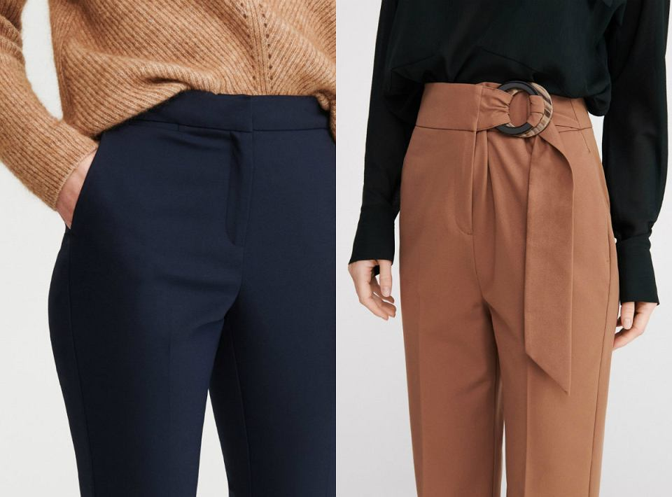 Materiałowe spodnie z wysokim stanem