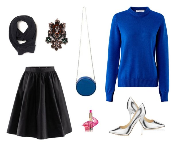 Swetere La Redoute, spódnica H&M, torebka Simple, buty Jimmy Choo, rękawiczki I szlik La Redoute, broszka Zara