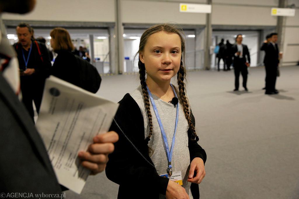 Greta Thunberg, aktywiska ekologiczna ze Szwecji podczas szczytu klimatycznego COP24 w 2018 roku - zdjęcie ilustracyjne.
