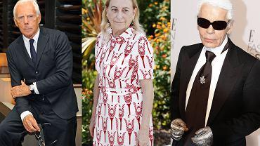 Najbardziej znani projektanci mody: Giorgio Armani, Miuccia Prada, Karl Lagerfeld
