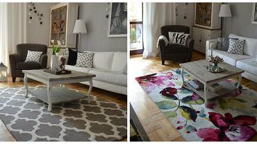 Wystarczy wybrać dywan w ulubionym przez nas stylu, dobrać do niego kilka dodatków, np. poduszki, lampiony, wazony a salon zmieni całkowicie wygląd i nabierze charakteru. Aranżacje w wykorzystaniem dywanów: Artisan (rozmiar 160x230 cm, cena 1499 zł), Belis (rozmiar 160x230 cm, cena 499 zł) .  Więcej o tej metamorfozie na blogu dekoratoramator.pl