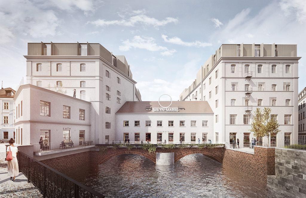 Inwestycja Młyn Maria we Wrocławiu firmy RealCo Property Investment and Development. Środkowa część jest nadwieszona nad wodą