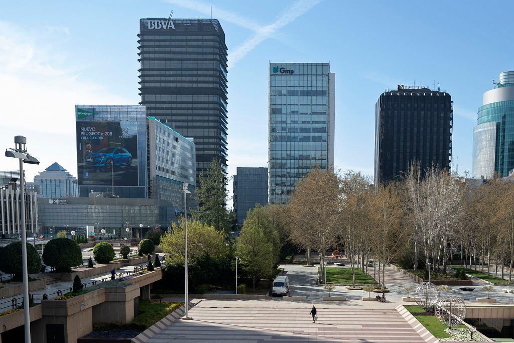 Dzielnica biznesowa Madrytu w piątek, 13 marca