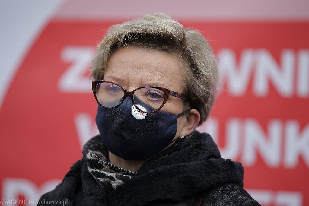 Krystyna Ptok, przewodnicząca Ogólnopolskiego Związku Zawodowego Pielęgniarek i Położnych