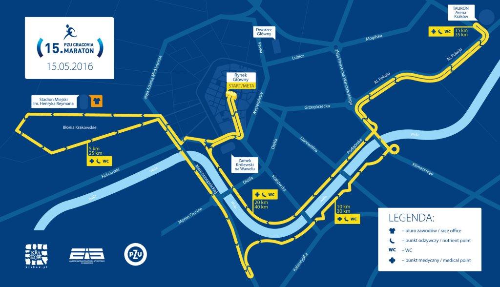 Trasa 15. PZU Cracovia Maratonu