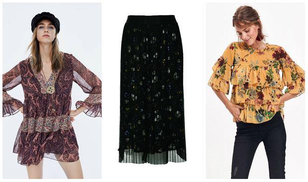 Od lewej:  Sukienka Zara 79,90 zł,  spódnica Medicine 89,90 zł, bluzka Top Secret 129,99 zł