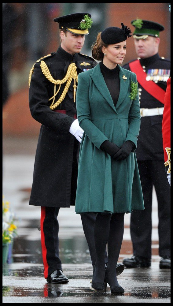 92671, LONDON, UNITED KINGDOM - Sunday March 17, 2013. Catherine, Duchess of Cambridge and Prince William attend The Irish Guards St Patricks Day Parade, at Mons Barracks, where The Duchess presented the traditional sprigs of shamrock, in London. **UK, AUSTRALIA & NZ OUT** Photograph: ? Andrew Parsons / i-Images ,PacificCoastNews.com **FEE MUST BE AGREED PRIOR TO USAGE** **E-TABLET/IPAD & MOBILE PHONE APP PUBLISHING REQUIRES ADDITIONAL FEES** LOS ANGELES OFFICE: +1 310 822 0419 LONDON OFFICE: +44 20 8090 4079