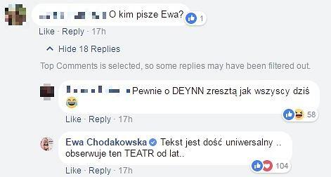 Komentarze pod wpisem Ewy Chodakowskiej