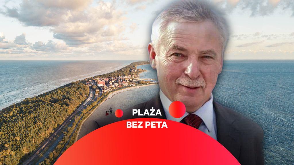 Burmistrz Helu Mirosław Wądołowski. Hel przyłącza się do akcji 'Plaża bez peta'