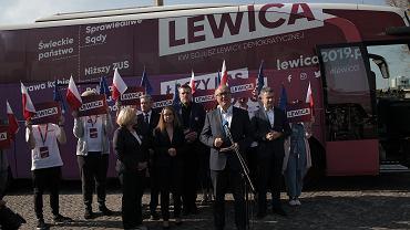 Od lewej: Wanda Nowicka , Robert Biedroń , Marcelina Zawisza , Adran Zandberg , Włodzimierz Czarzasty , Krzysztof Gawkowski podczas inauguracji objazdowej kampanii Lewicy .
