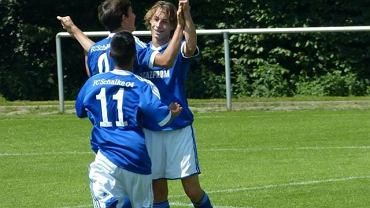 Oktawian Skrzecz w barwach Schalke (pierwszy z prawej)