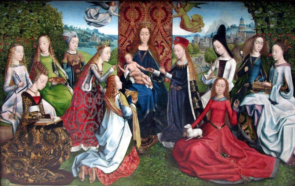 Obraz z XV wieku przedstawiający Maryję otoczoną przez inne święte dziewice (źródło: Master of the Legend of Saint Lucy / Wikipedia Commons / CC BY-SA 2.0)