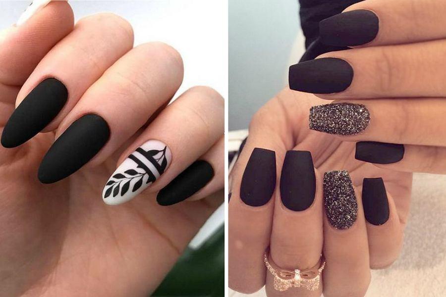 Czarne matowe paznokcie nie muszą być nudne!