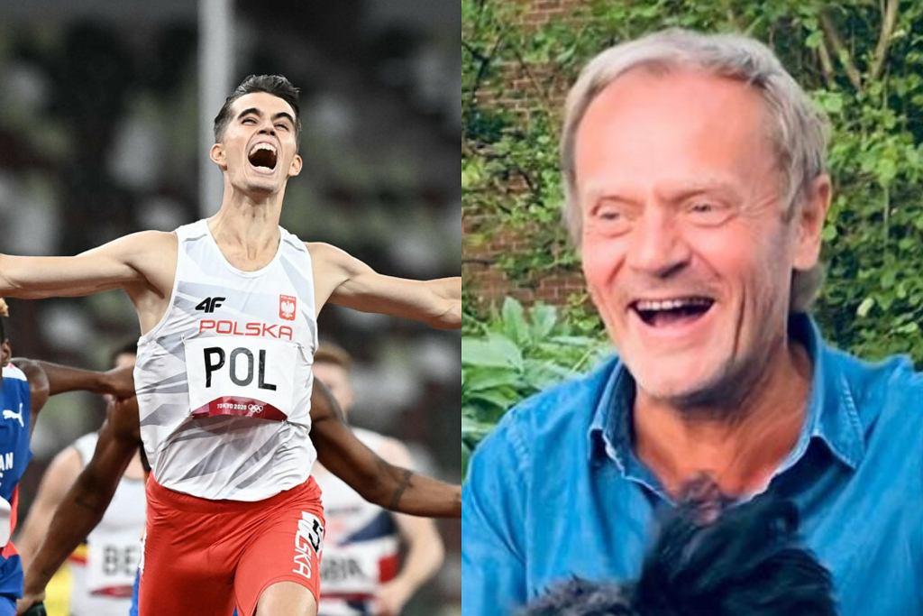 Donald Tusk cieszy się ze zwycięstwa Polaków
