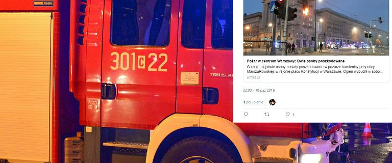Pożar w centrum Warszawy. Ewakuowano mieszkańców, trzy osoby w szpitalu