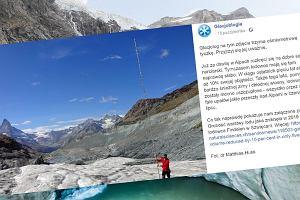 """Za pomocą ośmiometrowej tyczki pokazał, jaka część lodowca stopniała. """"Przerażające"""""""