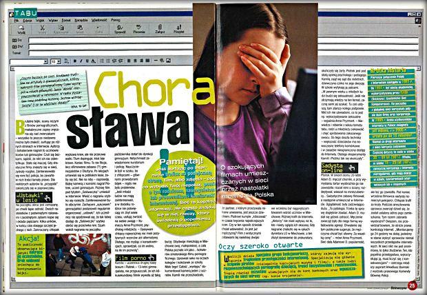 Artykuł poświęcony przestępczości internetowej - w tym wrzucaniu do sieci filmów i zdjęć bez zgody pokazanych w nim osób