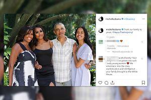 """Michelle Obama wstawiła zdjęcie z dziećmi i mężem. Napisała: """"Od naszej rodziny dla twojej, szczęśliwego Święta Dziękczynienia"""""""