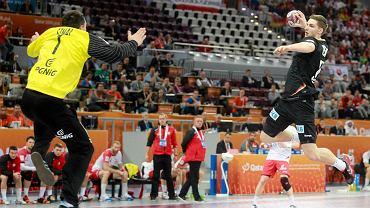 Polska 26:29 Niemcy na MŚ 2015 w Katarze, na zdjęciu Sławomir Szmal i Hendrik Pekeler