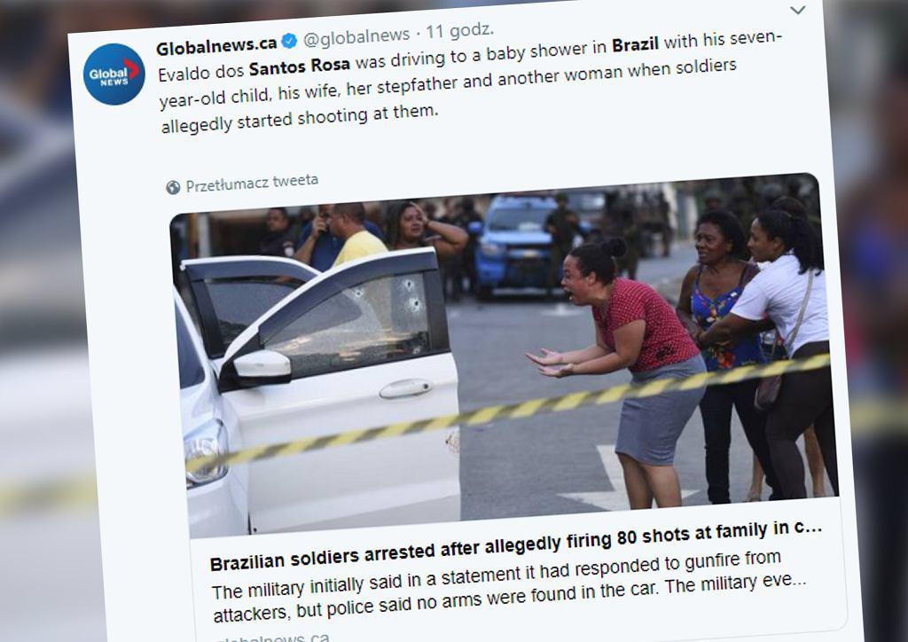 Brazylia. Wojsko ostrzelało samochód, w którym jechała rodzina. Zginął 46-letni mężczyzna