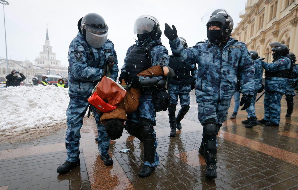 31.01.2021, Moskwa, protesty po aresztowaniu Aleksieja Nawalnego