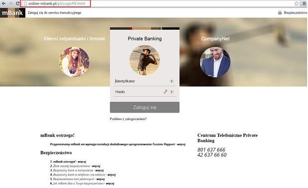 fałszywa strona logowania mBanku