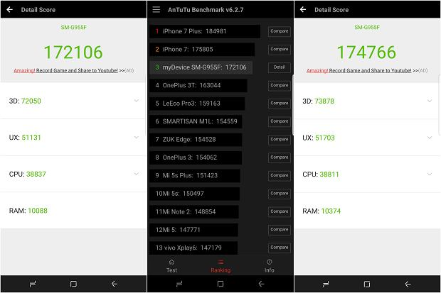 Wyniki Galaxy S8 Plus w AnTuTu