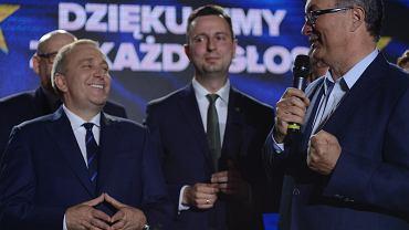 Wybory do Parlamentu Europejskiego. Władysław Kosiniak-Kamysz w towarzystwie Grzegorza Schetyny i Włodzimierza  Czarzastego