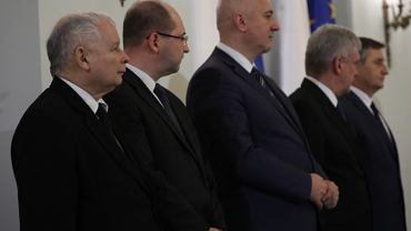 Jarosław Kaczyński, Adam Bielan, Joachim Brudziński, Stanisław Karczewski, Marek Kuchciński w Pałacu Prezydenckim