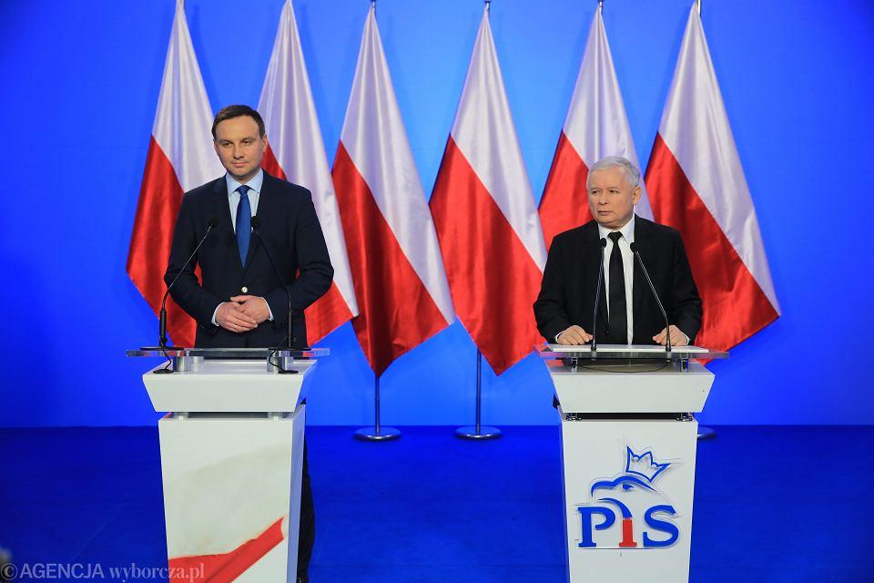 Andrzej Duda i lider PiS Jarosław Kaczyński