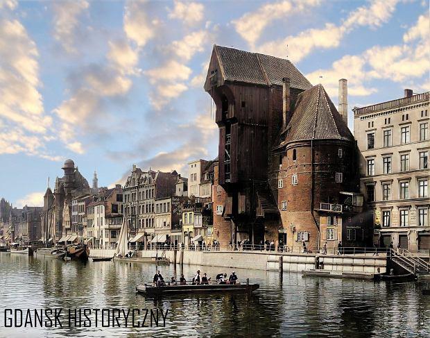 Zdjęcie numer 2 w galerii - Zdjęcia przedwojennego i powojennego Gdańska w kolorze. Zieleń drzew i czerwone cegły Bazyliki Mariackiej