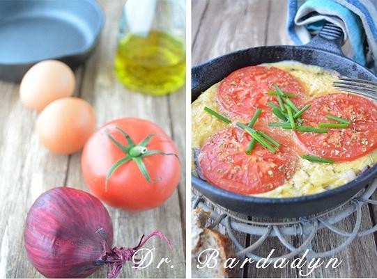 Frittata z cebulą i pomidorem