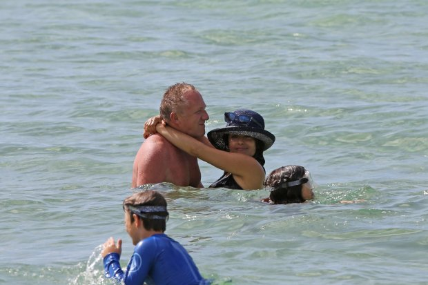 EXCLUSIVE: **PREMIUM RATES APPLY** **NO WEB UNTIL 0530AM GMT AUGUST 18, 2015** A bikini clad Salma Hayek and shirtless Pierce Brosnan spend a day at the beach together in Hawaii.  Pictured: Salma Hayek, Fran?ois-Henri Pinault