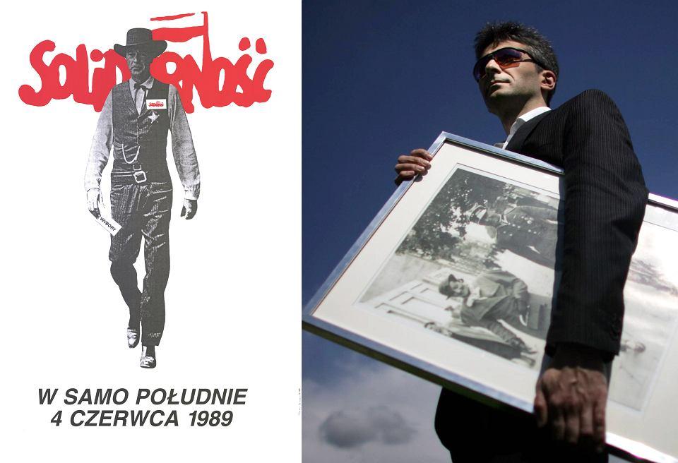 Tomasz Sarnecki ze zdjęciem dziadka, który przypomina Gary'ego Coopera i jego plakat 'W samo południe'