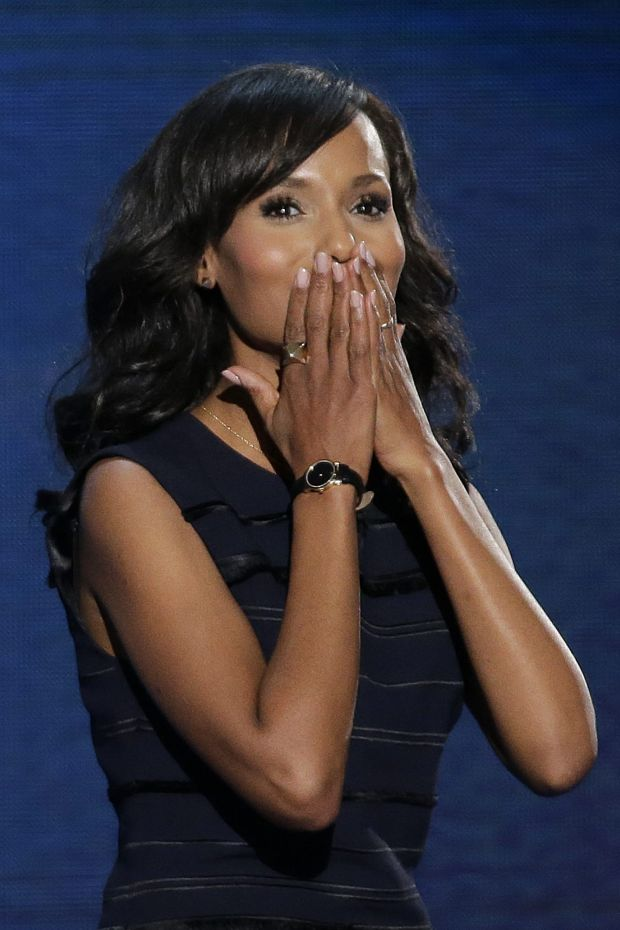 Actress Kerry Washington blows a kiss as she leaves the stage after addressing the Democratic National Convention in Charlotte, N.C., on Thursday, Sept. 6, 2012. (AP Photo/J. Scott Applewhite)