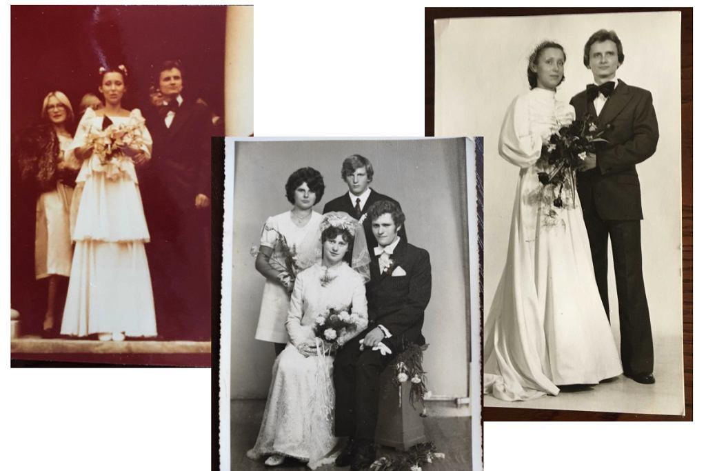 Ślub rodziców Kasi Żechowicz (Avanti24) (po lewej ślub cywilny, po prawej kościelny - obie suknie szyte w Modzie Polskiej w Warszawie). Środkowe zdjęcie - ślub dziadków Pauliny Bukarewicz (Avanti24)