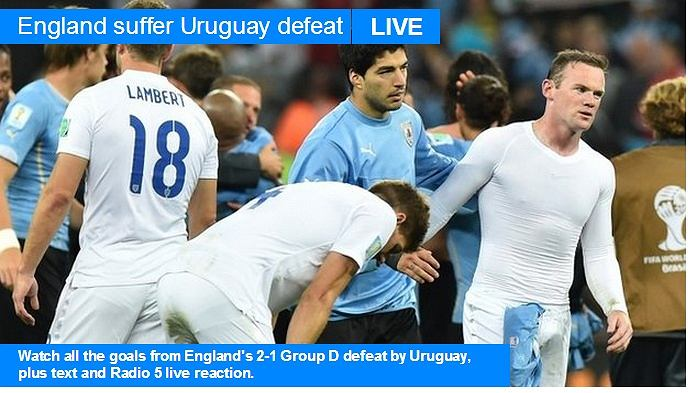 BBC Sport: Anglia cierpi po porażce z Urugwajem