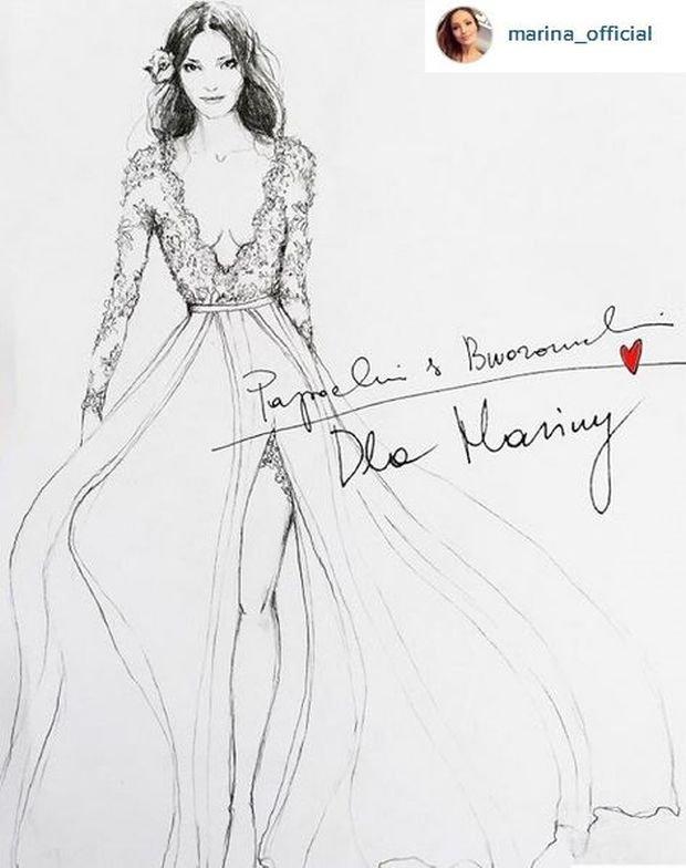Projekt sukni ślubnej Mariny Łuczenko